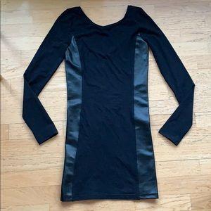 Frenchi // Low Back Black Leather Dress